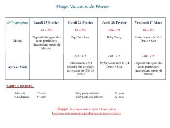 STAGES VACANCES DE FEVRIER